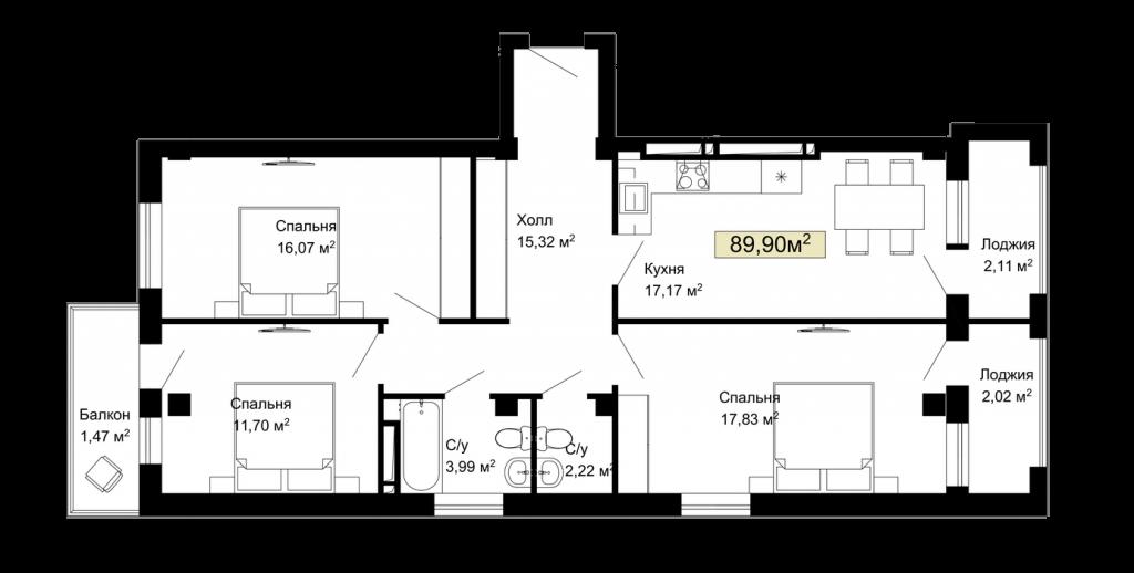 024, 029, 034, 039, 192, 197, 202, 207 планировка квартир жк Колумб Одесса